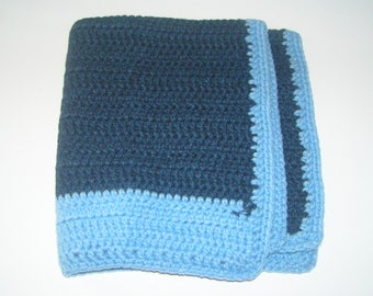 Baby Doll night blue baby blanket hand crocheted