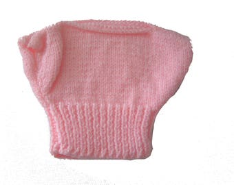 Pink baby doll 34 cm hand knitted sweater short sleeve