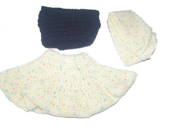 Together skirt baby doll 32 cm Blue and Heather scarf hand crocheted