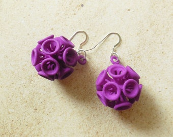 Suckerballs  - Purple  3D Printed Earrings - they spin!