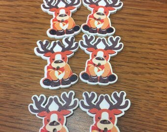 Reindeer two hole Craft Buttons, Crocheting, Knitting.