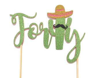 1 pc Forty mustache sombrero cactus cacti cake topper green glitter fiesta mexican party theme birthday spring summer