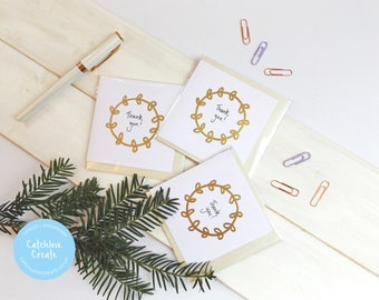 Pack of 3 thank you cards. Modern thank you cards. Gold leaf thank you card pack. Simple thank you card pack.