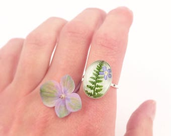 Real flower ring, Forest ring, Sterling silver ring with fern, Pressed fern in ring, Woodland ring, Green leaf, Forget me not ring,Christmas