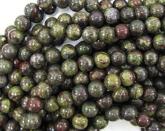 "8mm dragon blood jasper round beads 15.5"" strand 30977"