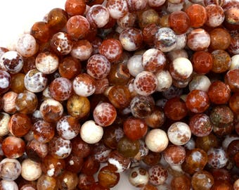 """8mm faceted agate round beads 15"""" strand orange white 38791"""