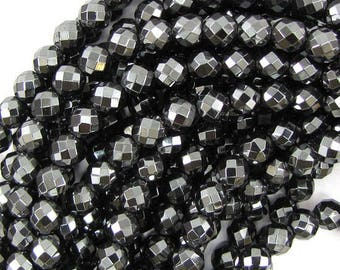 """8mm faceted hematite round beads 15.5"""" strand S1 30290"""