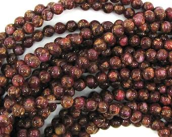 "4mm ruby red golden pressed jade round 15.5"" strand 17975"