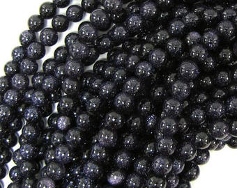 "6mm blue goldstone round beads 15"" strand 30236"