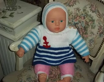 soft sweater and hat for baby doll, baby Gr. 86, blue, white