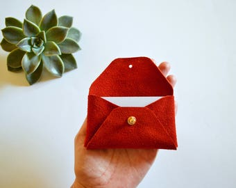 Red suede leather card case / Red envelope card holder / Red leather business card case / Genuine leather