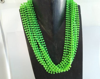 Neon 48-53cm vintage 1980s multi strand green necklace, vintage green necklace, neon bead necklace, neon green necklace, neon green beads,