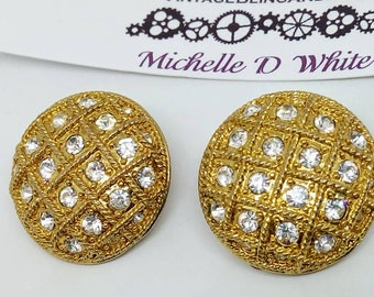 LARGE 25mm 1980s Vintage rhinestone Clip on earrings, vintage earrings, clip on earrings, rhinestone earrings, 1980s rhinestone earrings,