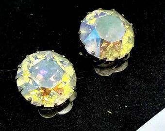 Large 1.5cm Clip on earrings, vintage earrings, AB crystal earrings, rhinestone earrings, earrings, wedding earrings, AB crystal earrings