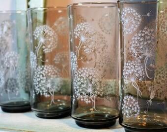 Libbey, Dandelion Puffs, Dandelion Seeds, Gray, Ice Tea Glasses, Set of Four