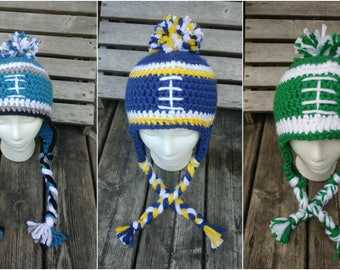 Crochet Football Team Hats