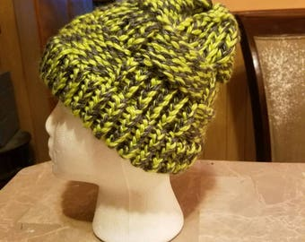New pattern!  This basket weave knitted adult sized hat is sure to be as fashionable as it is toasty!