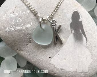 Bridesmaid Genuine English Sea Glass Necklace, Personalised. Handmade in the UK. Free Uk Delivery.