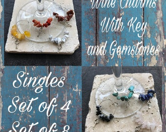 Housewarming Gift. Wine Charms Set of 4 and 8. Singles. Key Charm with Gemstones. New House. New Business. New Beginnings. Handmade in U.K.