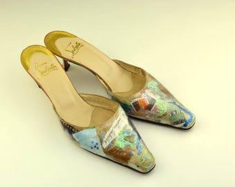 RARE Vintage Christian Louboutin Trash Mules Sz. 40.5 / 10.5 Red Bottoms / High Heels / Kitten Heel Shoes