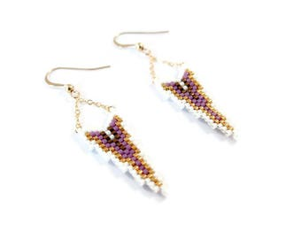 Earrings gold Goldfilled and Miyuki ▲ white and purple