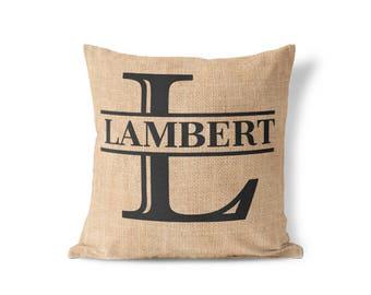 monogrammed pillow cover monogram gift for hergifts for women bag burlap pillow case