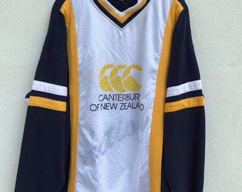 Vintage Canterburry Rugby Shirt Canterburry of New Zealand Mesh Longsleeve Rugby team Canterburry Pullover sz M