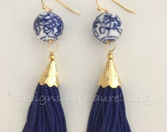 NAVY Beaded Tassel Earrings | CHINOISERIE, navy blue, gold, designs by, laurel leigh, blue and white, statement earrings