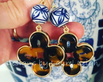 Tortoise Shell Earrings | Chinoiserie, blue and white, hoops, gold, dangle, statement earrings, tortoiseshell, clover, quatrefoil