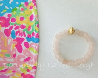 BLUSH and GOLD Beaded Bracelet | pink, stretchy, Designs by Laurel Leigh