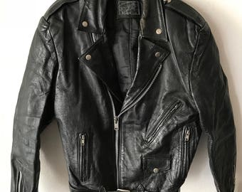 Heavy Short Vintage Black Genuine Shabby Leather Jacket Men's Size Small.