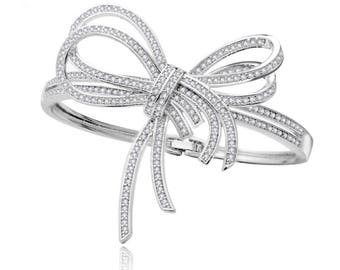 Bridal Crystal Silver Bracelet, Bow Cuff, Bridal Jewellery, Wedding Bracelet, Wedding Jewellery