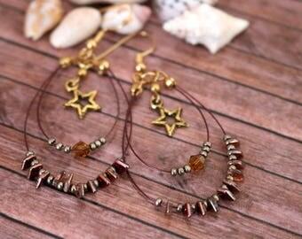 Hoop gold earrings, Beaded hoop earrings, Star earrings, Boho jewellery, Hippy earrings, Gold jewellery, Bollywood jewellery, Gift for her