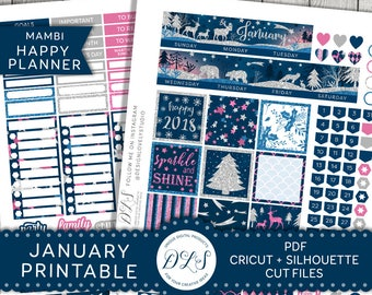 January Monthly Planner Stickers, Happy Planner January Monthly Kit, January Printable Kit, 2018 Planner Stickers Kit, Cut Files, HPMV115