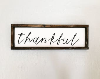 Thankful Sign | Framed Sign | Farmhouse Style | Rustic Sign | Housewarming Gift | Fall Decor | Thanksgiving Decor