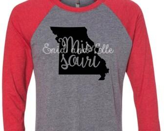 Missouri t-shirt - Missouri state shirt - Missouri home t-shirt - home shirt - Missouri baseball shirt - Missouri raglan shirt-Enid and Elle