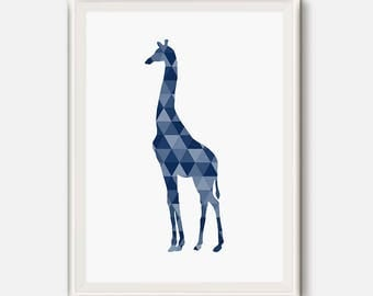 Giraffe print, Giraffe gift, blue animal poster, Navy animal art, Geometric animals, Geometric poster, triangle wall art, Animal Nursery Art