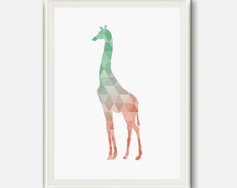 Coral and mint decor, coral nursery, Mint and coral Art, Giraffe print, Geometric Art, Giraffe poster, animal baby prints, printable art