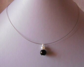Duo black and White Pearl bridal necklace