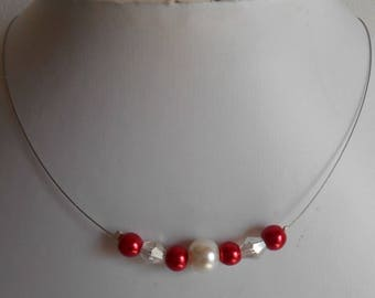 """Necklace """"collection harmony"""" red and ivory"""