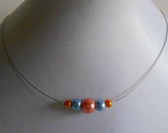 Orange wedding trend blue coral necklace