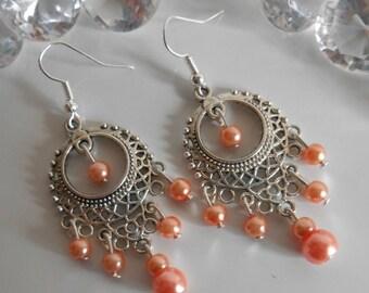 Drop earring Gypsy coral pearls