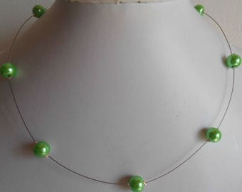 Simple wedding necklace green pearls