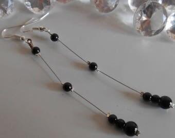 Wedding earrings black pearls