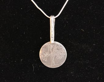 Sterling Silver Pendant with Tree of Life Etching (100917-012)