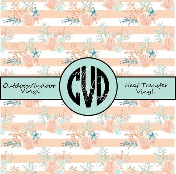 Beautiful Sea Shell Patterned Vinyl // Patterned / Printed Vinyl // Outdoor and Heat Transfer Vinyl // Pattern 679