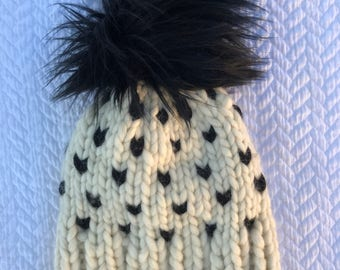 handmade chunky 100% wool hat with faux fur pompom, hand knit, pom pom hat, faux fur pompom, fairisle