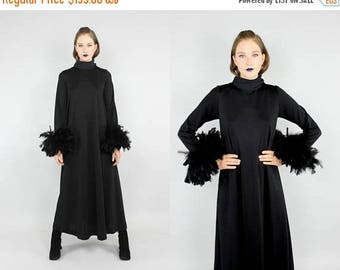 FLASHSALE 40% OFF 60's 70s black boho avant garde feather maxi dress S M