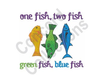Fish - Machine Embroidery Design, One Fish Two Fish, Dr. Seuss
