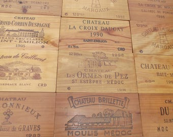 Wooden wine crate plates, 12 vintage planks - French wine boards, wine crate facades - wood plates wines from french castles France